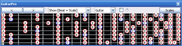 7 et 8 CORDES, guitares-et-basses, impro/composition, investigations Guitarpro6_c_major_scale
